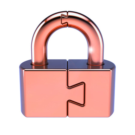 Puzzle padlock lock closed security code protection conundrum concept. 3d illustration isolated on white background