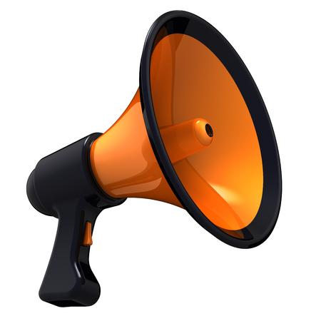 Megaphone news blog loudspeaker communication announce declaration attention symbol. Bullhorn orange black icon. Propaganda agitation advertising sale message concept. 3d illustration