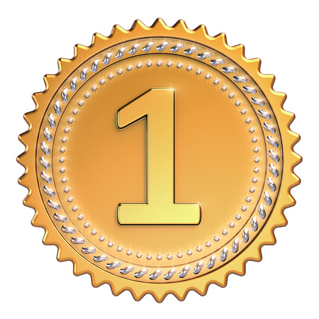 Medal award golden first place winner. Number one champion achievement success icon beautiful sparkling. 3d illustration isolated