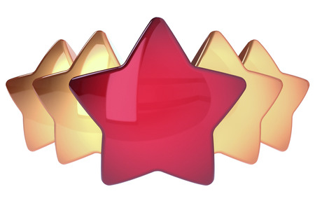 Five stars in a row one red four golden. Award top quality excellent symbol concept. 3d illustration isolated Stock Photo