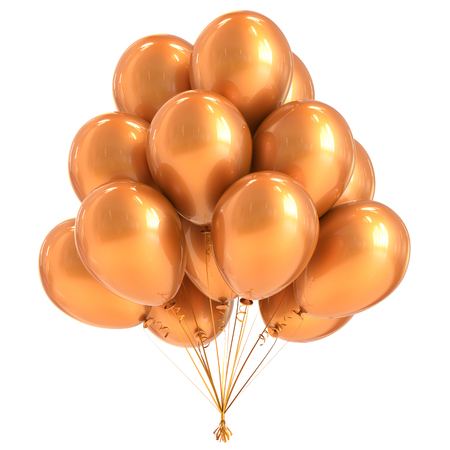Balloon yellow party birthday decoration bunch balloons golden glossy. Happy holiday anniversary celebrate greeting card invitation background. 3d illustration of Isolated on white Stock Photo