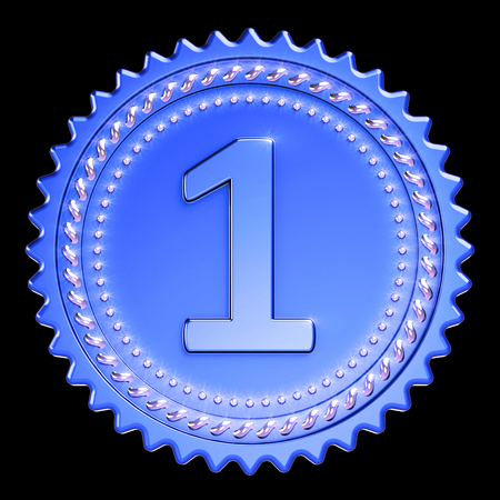 Award medal first place winner blue version. Number one champion success icon beautiful sparkling. 3d illustration isolated on black background