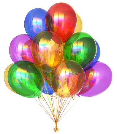 Balloon bunch birthday party balloons decoration colorful translucent glossy. Holiday anniversary celebrate greeting card invitation background. 3d illustration