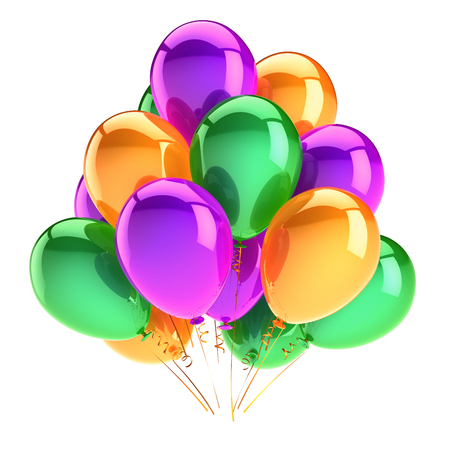 Balloons birthday party decoration multicolored glossy. Colorful balloon bunch green purple orange. Happy holiday, anniversary, celebrate, greeting card, invitation background. 3d illustration Stock Photo