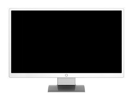 Computer monitor flat screen wide black blank desktop LCD TV presentation display. 3d illustration isolated on white background Stock Photo