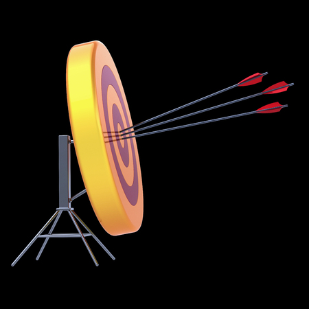 Target arrows success shooting accuracy sniper hitting of bulls eye lucky concept. 3d illustration isolated on black Stock Photo