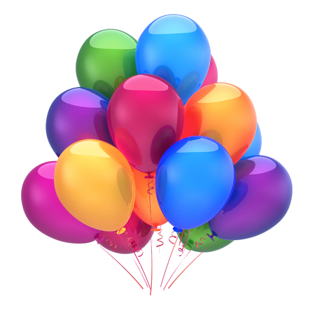 Colorful balloons birthday party decoration. Multicolored balloon bunch glossy. Happy holiday, anniversary, celebrate, greeting card, invitation background. 3d illustration