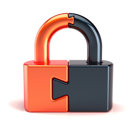 Puzzle padlock lock closed colored black orange. Security code protection conundrum concept. 3d illustration isolated