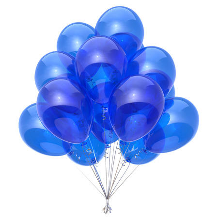 Balloon bunch blue party decoration. Happy birthday helium balloons sky color translucent. Holiday anniversary celebration symbol. 3d illustration