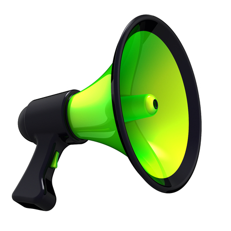 Megaphone green black, news blog, loudspeaker communication, announce declaration attention symbol. Bullhorn basic icon. Propaganda, agitation, advertising, sale message concept. 3d illustration