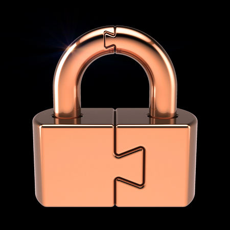 Lock puzzle padlock closed security code protection conundrum concept. 3d illustration isolated on black background Stock Photo