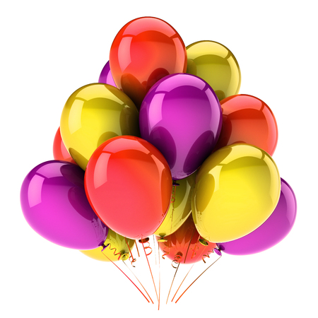 Balloons birthday party decoration colorful glossy. Multicolored balloon bunch red yellow purple. Happy holiday, anniversary, celebrate, greeting card, invitation background. 3d illustration