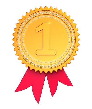 First place award ribbon medal golden red. Winner reward, number one, champion achievement success icon sparkling. 3d illustration isolated 写真素材