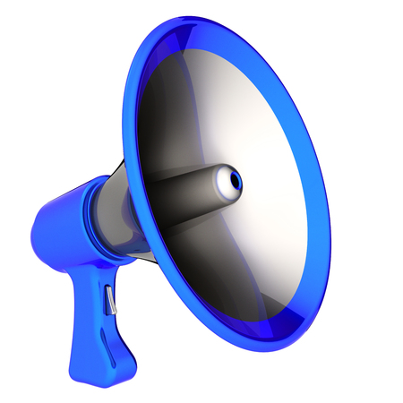 Megaphone news blog loudspeaker communication bullhorn blue. Message announcement icon concept. 3d illustration Stok Fotoğraf