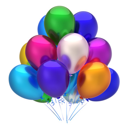 Multicolored balloon birthday party decoration. Colorful balloons bunch glossy. Happy holiday, anniversary, celebrate, greeting card, invitation background. 3d illustration