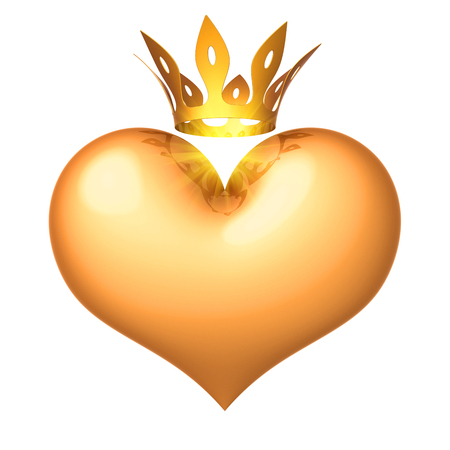 Heart king queen golden royal crown. Lucky love, Valentines Day, 14 february icon concept. 3d illustration isolated Banco de Imagens