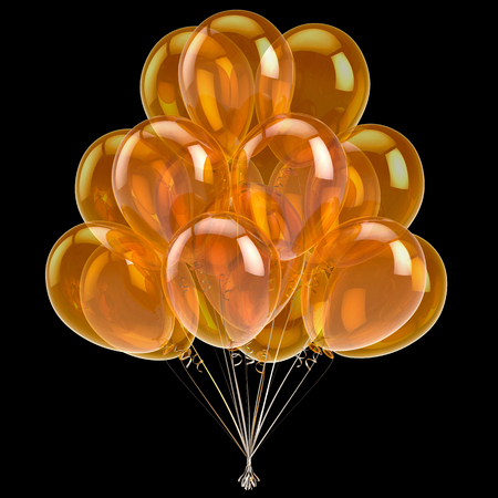 Colorful balloon golden yellow glossy, birthday party decoration glossy helium balloons bunch shiny. Holiday, anniversary celebrate, greeting card design element. 3d illustration, isolated on black