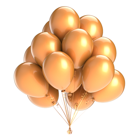 Colorful balloon bunch golden. Birthday party decoration, balloons yellow glossy. Happy holiday, anniversary, celebrate, greeting card, invitation background. 3d illustration Stock Photo