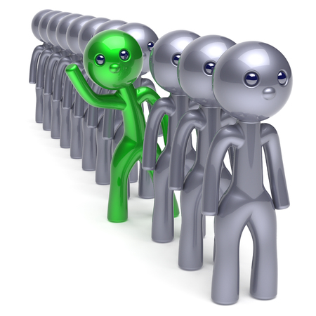Individuality man character, stand out from the crowd, men stylized different people, unique green think differ person otherwise, new opportunities concept. Human resources hr icon. 3d illustration Archivio Fotografico