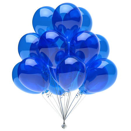 Party balloons bunch blue decoration translucent glossy. 3d illustration, isolated Stock Photo