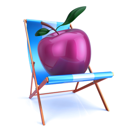 Apple sitting in beach chair. Healthy fresh food, fruit vitamin, vegetarian diet lifestyle concept. 3d illustration