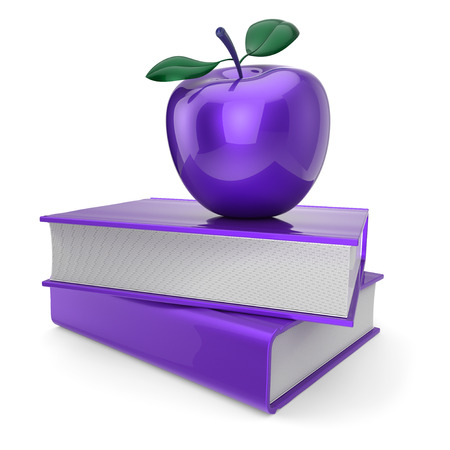 purple apple and two blue books. education, school studying, knowledge, idea, reading symbol. back to school icon concept. 3d illustration Stock Photo