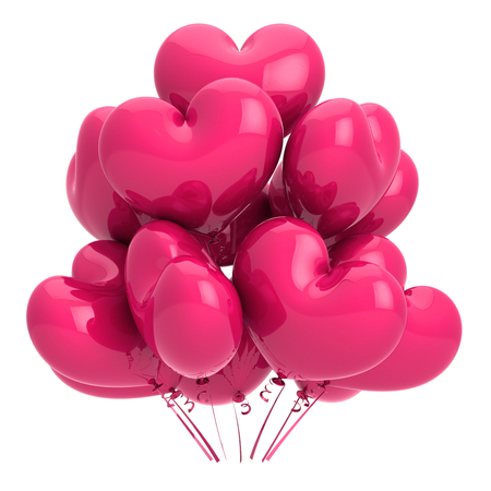 pink party balloons heart shaped glossy. love helium balloon bunch. birthday, wedding, marriage decoration romantic. event, holiday, celebration symbol. 3d illustration