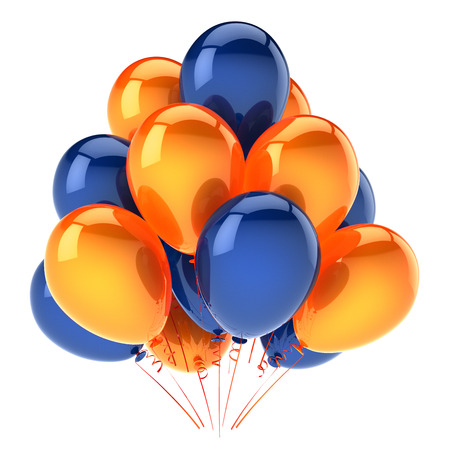 party balloons orange blue colorful. helium balloon bunch birthday decoration glossy, carnival celebration background. 3d illustration Banco de Imagens