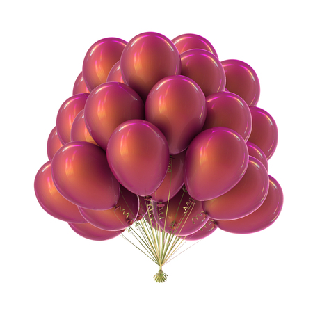 party balloons beautiful colorful purple pink violet. happy birthday, anniversary decoration glossy helium balloons bunch. carnival, holiday event symbol. 3d illustration Stockfoto