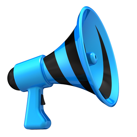 megaphone news blog loudspeaker. communication, announcement symbol. bullhorn striped blue. entertainment advertising, sale message concept. 3d illustration Stock Photo