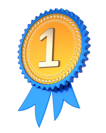 award ribbon number one 1. 1st first place medal golden blue. champion winner reward, achievement success icon. 3d illustration, isolated Stock Photo