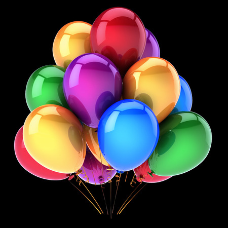 balloons happy birthday party decoration multicolored. colorful helium balloon bunch. anniversary celebration, happy holiday symbol. 3d illustration. isolated on black