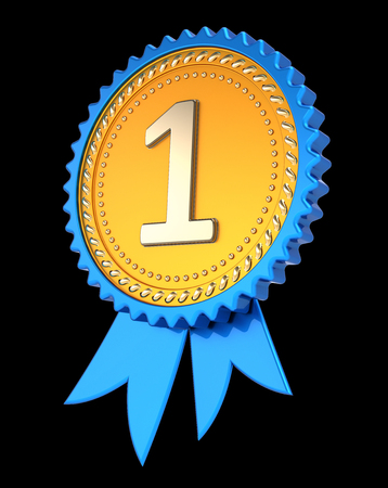number one 1 award ribbon. 1st first place medal golden blue. champion winner reward, achievement success icon. 3d illustration, isolated on black