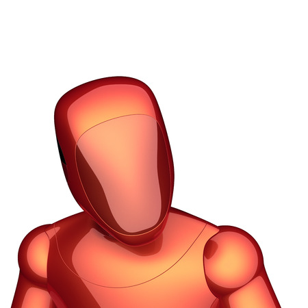 technology character cyborg robot artificial orange red avatar icon. futuristic android electronic person portrait. 3d illustration Stock Photo