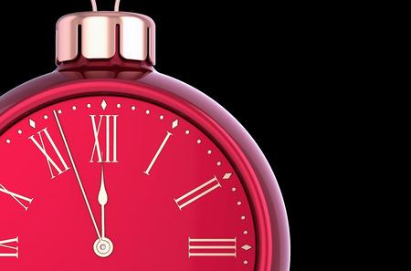Nouvel an réveil compte à rebours boule rouge. Concept d'icône de décoration ornement boule de Noël. Bonnes vacances d'hiver minuit symbole de début futur. Illustration 3D, isolée sur fond noir