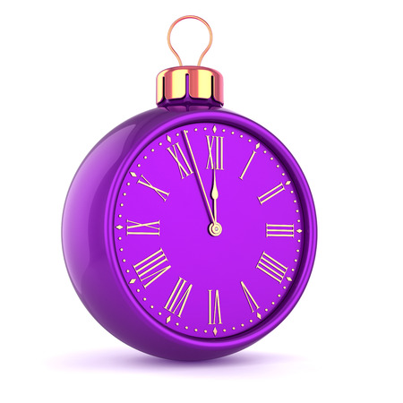 Christmas ball clock face midnight last hour decoration. New Years Eve time bauble purple. Future countdown ornament. Traditional happy wintertime holidays beginning symbol. 3d illustration Stock Photo