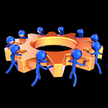 gear wheel business process teamwork characters cogwheel abstract orange blue. team work men turning gearwheel together. partnership, human resources cooperation concept. 3d rendering 스톡 콘텐츠
