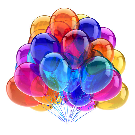 carnival party balloons bunch multicolored. best colorful birthday decoration. entertainment events, anniversary celebration symbol. 3d rendering