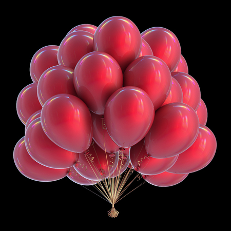party balloons bunch red birthday decoration colorful modern celebration symbol. 3d rendering, isolated on black