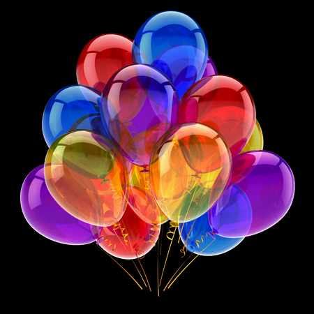balloons colorful bunch. birthday carnival party decoration symbol multicolor. 3d rendering, isolated on black
