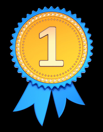 number one 1 medal blue golden. award ribbon 1st first place. achievement success, champion winner reward symbol concept. 3d illustration, isolated on black