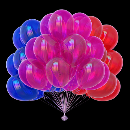 balloons colorful birthday decoration multicolored blue purple red. advertisement, entertainment symbol concept. 3d rendering, isolated on black background