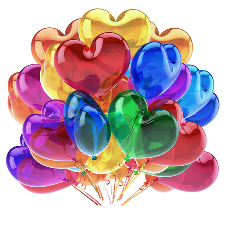 heart balloons colorful party decor red blue orange green translucent. romantic birthday decoration glossy multicolored. holiday, celebration love greeting card. 3d rendering