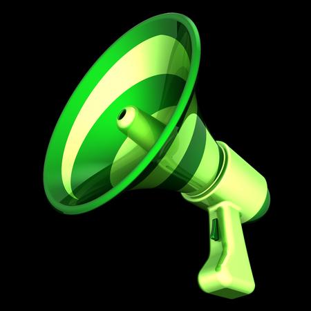 megaphone green communication, news loudspeaker, bullhorn stylish. broadcasting, message, announcement, motivation icon concept. 3d illustration, isolated on black