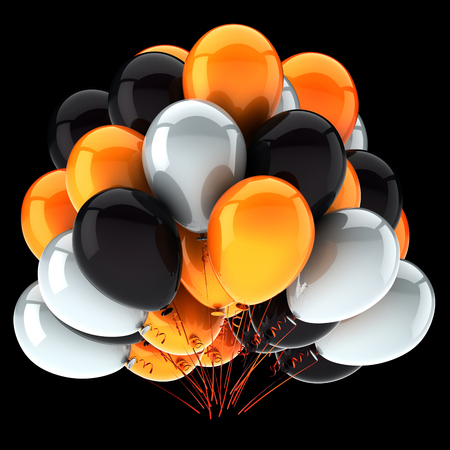 party balloon orange white black colorful. helium balloons bunch birthday decoration glossy, carnival celebrationl symbol. 3d rendering, isolated on black