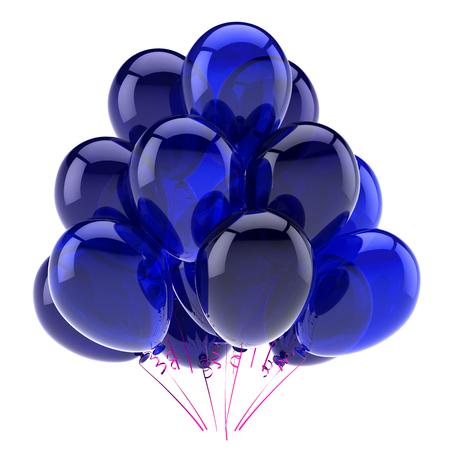 birthday balloons blue bunch party, birthday, celebration, anniversary decoration glossy. 3d illustration Banco de Imagens