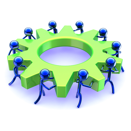 characters teamwork abstract gearwheel business process. team work men turning gear wheel. partnership, human resources HR cooperation symbol green blue. 3d illustration
