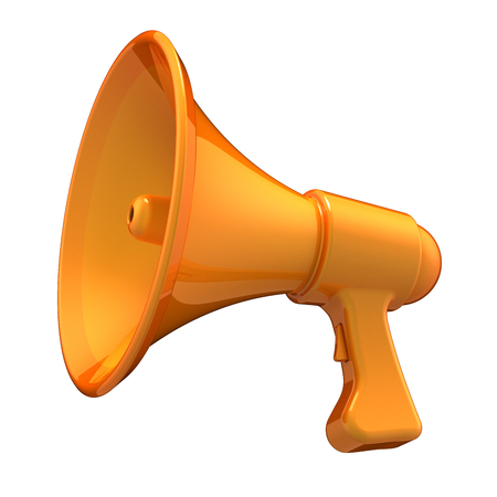 orange megaphone communication news blog loudspeaker bullhorn stylish yellow. message amplifier, announcement PR broadcasting icon concept. 3d illustration