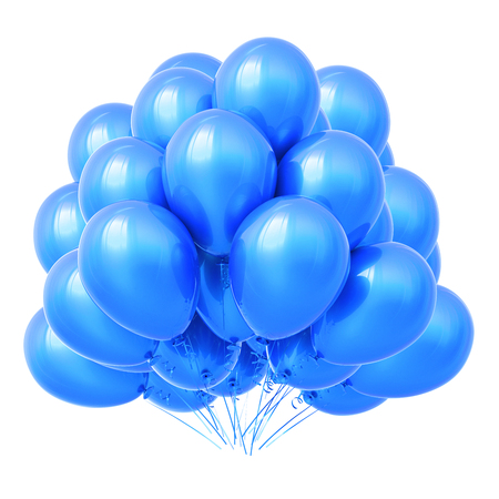 blue helium balloons bunch, flying up birthday party decoration glossy. 3d rendering, isolated