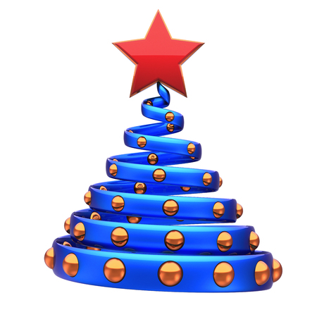 Christmas tree decoration spiral abstract blue golden balls and red star. New Years Eve Day stylized fir spring souvenir adornment. Xmas wintertime icon. 3d rendering